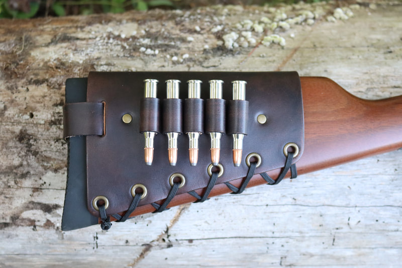 Leather Cartridge Cuff Buttstock Shell Holder on a Winchester 94AE