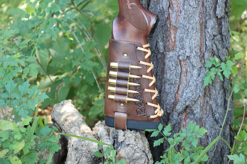 Leather Cartridge Cuff Buttstock Shell Holder on a Winchester Model 70 Featherweight 243