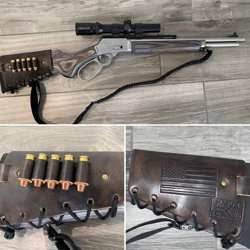 Leather Cartridge Cuff Buttstock Shell Holder on a Marlin 1894 CSL