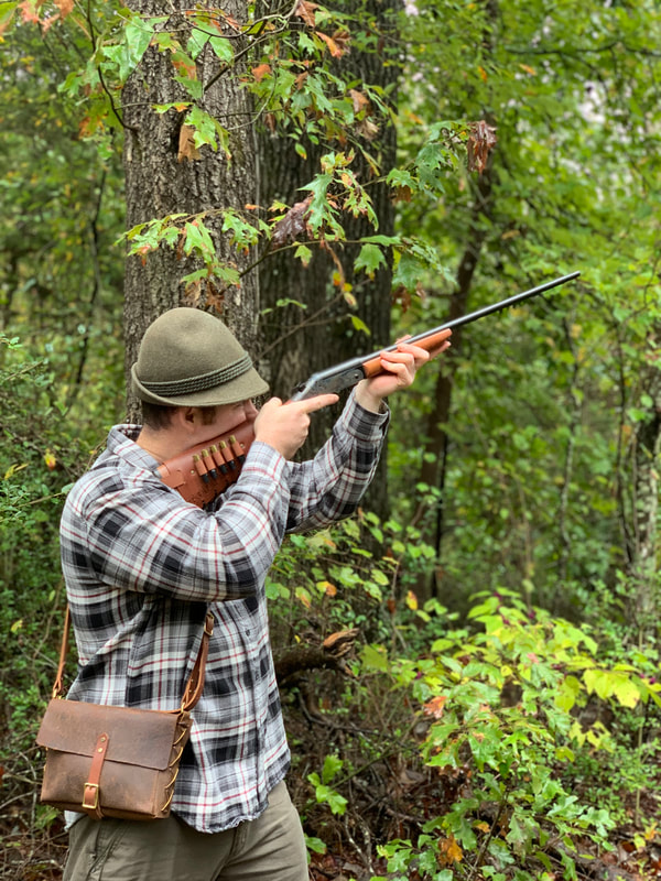 Squirrel hunting with 410 gauge H&R Topper break action shotgun with Cartridge Cuff buttstock shell holder