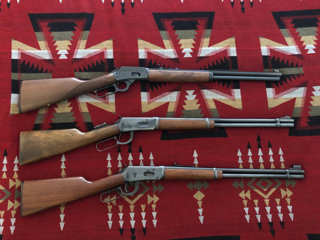 Picture of Clint's lever action lineup: Marlin 1894 .44 Magnum and two Winchester 94 30-30 rifles